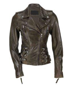 Zip Buckle Biker Leather Jacket For Women Brown
