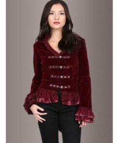 Women Velvet Victorian Steampunk Gothic Dressage Tailcoat Corset Back Jacket Front Red 510x510