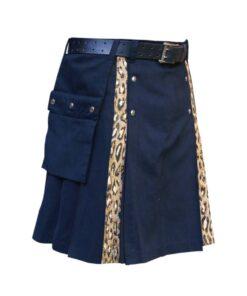 Black Kilt With Leopard Style Pleat