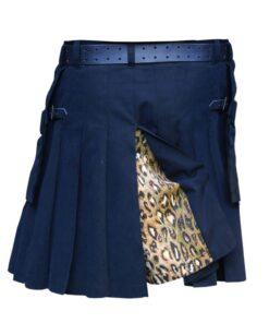 Black Kilt With Leopard Style Pleat Ack