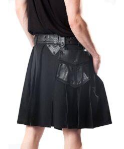 Leather Patch Gothic Utility Kilt Back