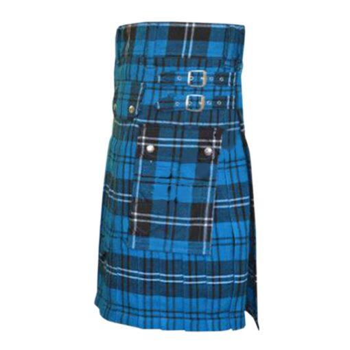 Ramsay Blue Tartan Utility Kilt Pocket
