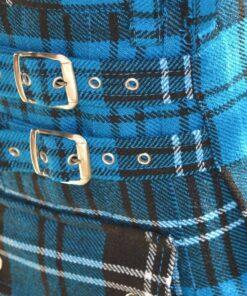 Ramsay Blue Tartan Utility Kilt Closeup