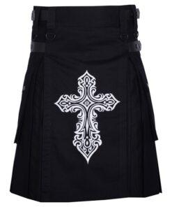 Celtic Sword Embroidery Pattern Black Cotton Utility Kilt For Men Rebelsmarket 1