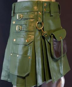 Fashion Leather Utility Kilt