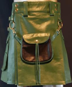 Green Fashion Leather Utility Kilt