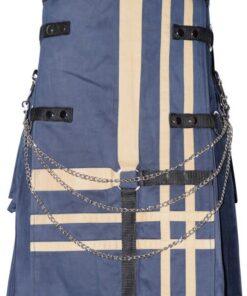 Men Blue 100 Stylish Cotton Hybrid Utility Kilt