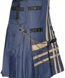 Men Blue 100 Stylish Cotton Hybrid Utility Kilt2