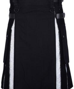 Modern Hybrid Black Cotton Gothic Kilt With White Brocade Under Pleats