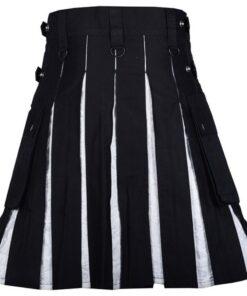 Modern Hybrid Black Cotton Gothic Kilt With White Brocade Under Pleats2