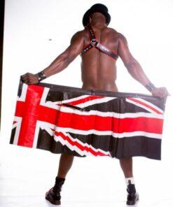 Uk Flag Stylish Leather Kilt