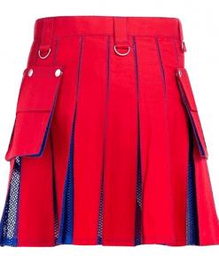 Women Red Net Hybrid Kilt
